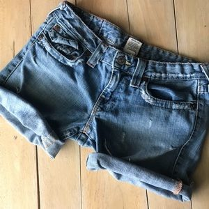 True Religion Joey Cut Off Jean Shorts